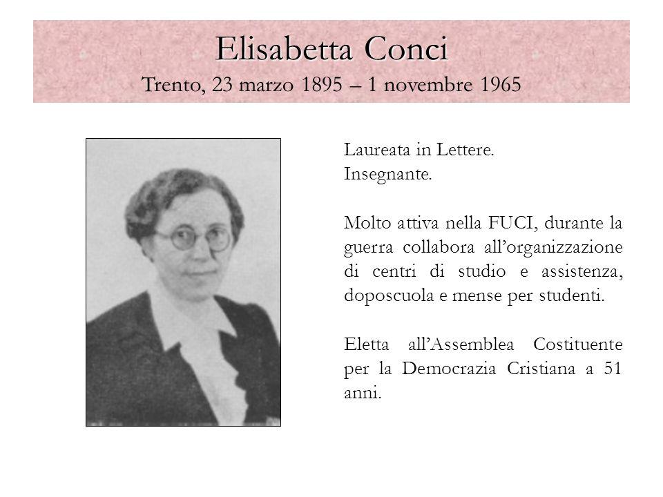 Elisabetta Conci Elisabetta Conci Trento, 23 marzo 1895 – 1 novembre 1965 Laureata in Lettere. Insegnante. Molto attiva nella FUCI, durante la guerra