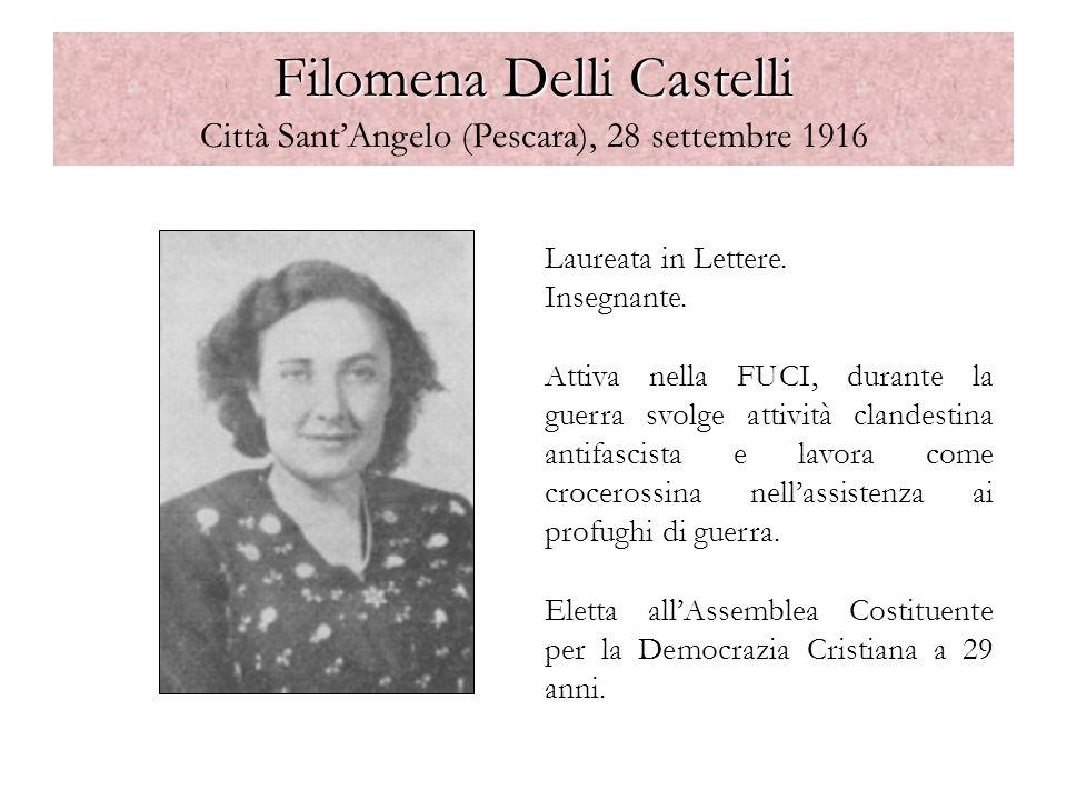 Filomena Delli Castelli Filomena Delli Castelli Città SantAngelo (Pescara), 28 settembre 1916 Laureata in Lettere. Insegnante. Attiva nella FUCI, dura