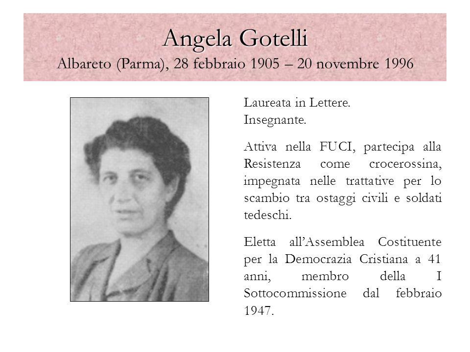Angela Gotelli Angela Gotelli Albareto (Parma), 28 febbraio 1905 – 20 novembre 1996 Laureata in Lettere. Insegnante. Attiva nella FUCI, partecipa alla