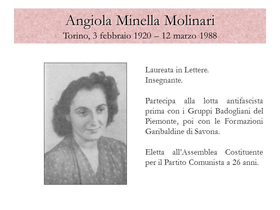 Angiola Minella Molinari Angiola Minella Molinari Torino, 3 febbraio 1920 – 12 marzo 1988 Laureata in Lettere. Insegnante. Partecipa alla lotta antifa