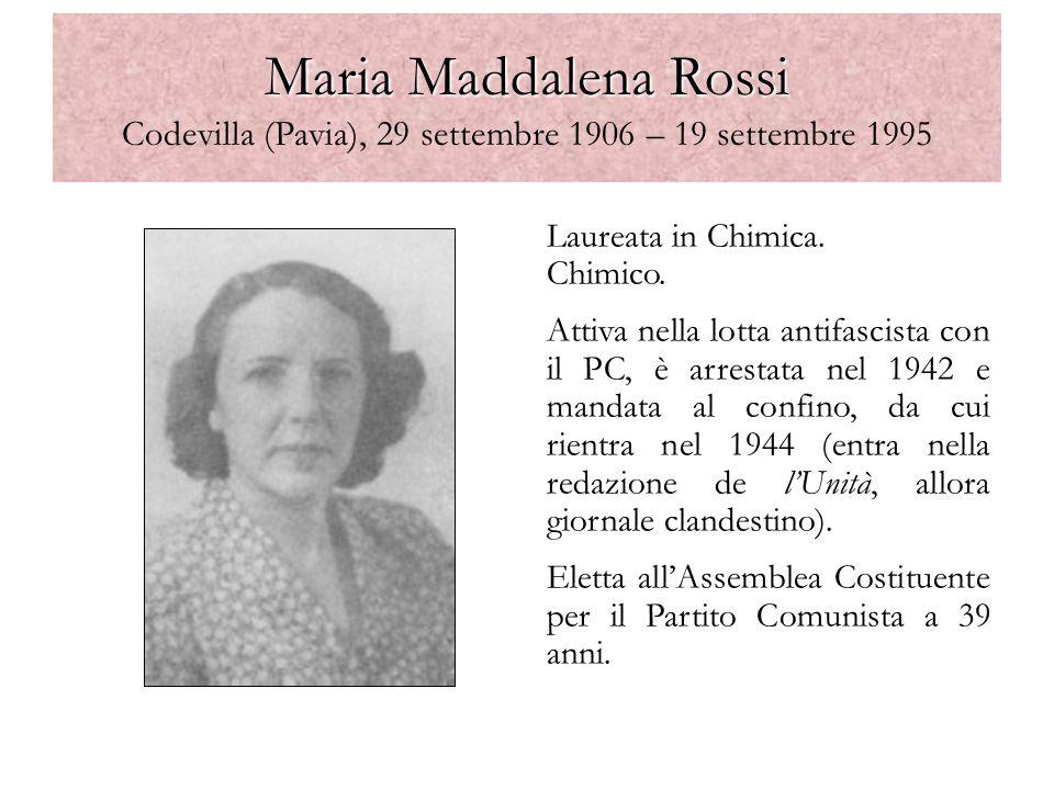 Maria Maddalena Rossi Maria Maddalena Rossi Codevilla (Pavia), 29 settembre 1906 – 19 settembre 1995 Laureata in Chimica. Chimico. Attiva nella lotta