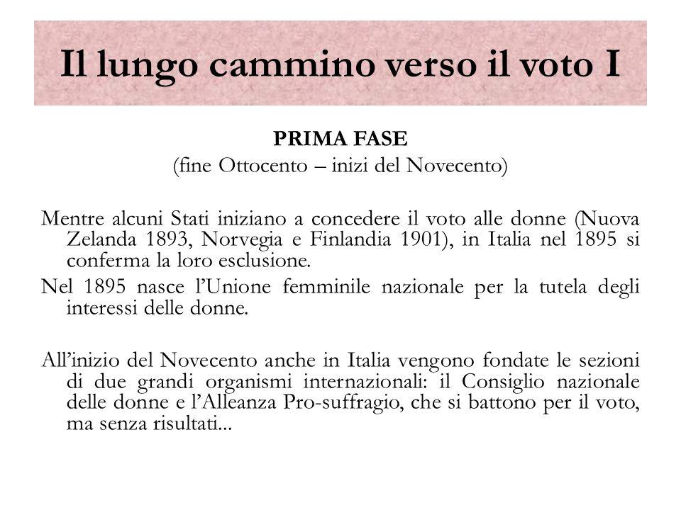 Il lungo cammino verso il voto II SECONDA FASE (La Prima Guerra Mondiale e il fascismo) LInghilterra concede il voto alle donne nel 1917; gli Stati Uniti nel 1918.