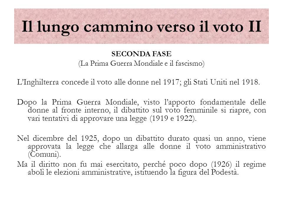 Il lungo cammino verso il voto II SECONDA FASE (La Prima Guerra Mondiale e il fascismo) LInghilterra concede il voto alle donne nel 1917; gli Stati Un