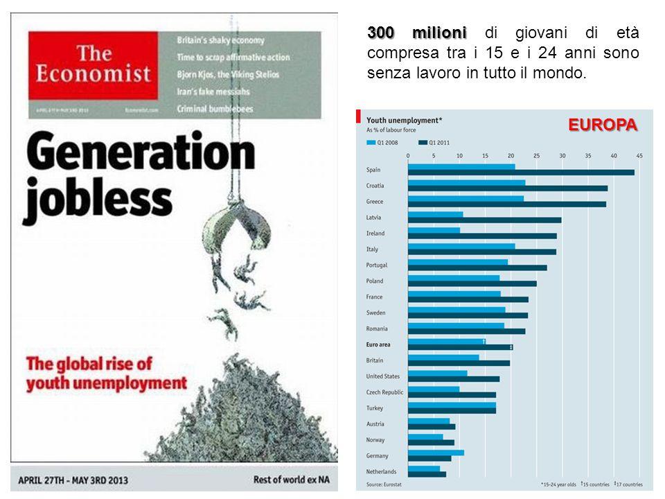 300 milioni 300 milioni di giovani di età compresa tra i 15 e i 24 anni sono senza lavoro in tutto il mondo. EUROPA