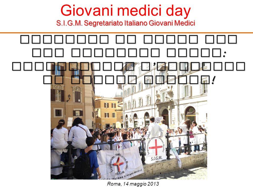 Giovani medici day S.I.G.M. Segretariato Italiano Giovani Medici Cambiamo il paese per non cambiare Paese : riscopriamo l orgoglio di essere medici !