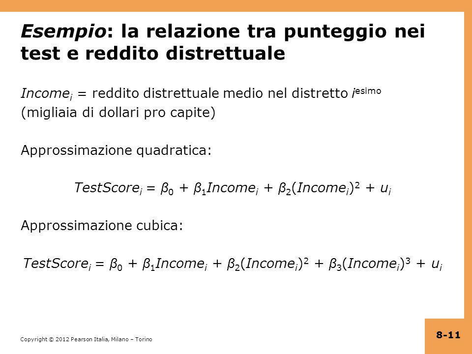 Copyright © 2012 Pearson Italia, Milano – Torino Esempio: la relazione tra punteggio nei test e reddito distrettuale Income i = reddito distrettuale m