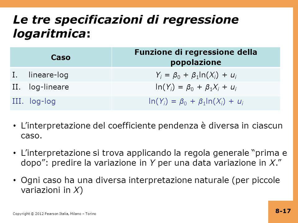Copyright © 2012 Pearson Italia, Milano – Torino Le tre specificazioni di regressione logaritmica: Caso Funzione di regressione della popolazione I. l