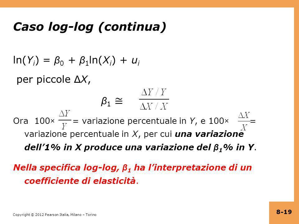 Copyright © 2012 Pearson Italia, Milano – Torino Caso log-log (continua) ln(Y i ) = β 0 + β 1 ln(X i ) + u i per piccole Δ X, β 1 Ora 100× = variazion