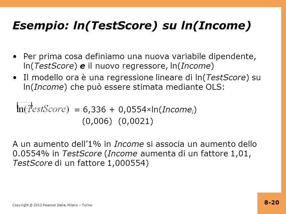 Copyright © 2012 Pearson Italia, Milano – Torino Esempio: ln(TestScore) su ln(Income) Per prima cosa definiamo una nuova variabile dipendente, ln(Test