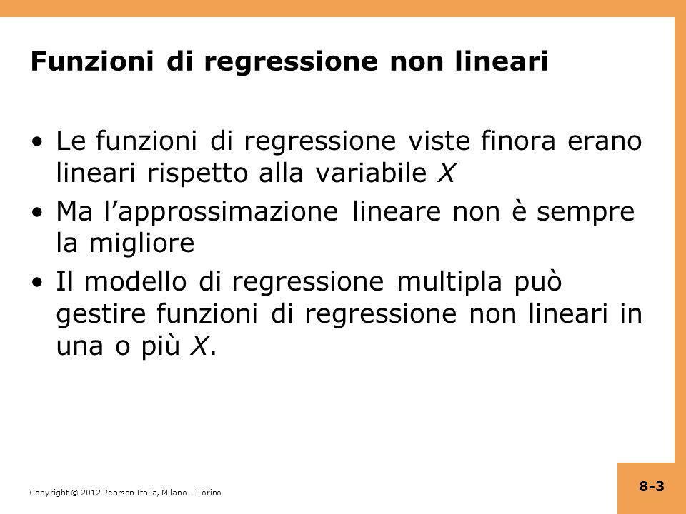 Copyright © 2012 Pearson Italia, Milano – Torino Esempio (continua): verifica delle ipotesi = 682,2 – 0,97STR + 5,6HiEL – 1,28(STR×HiEL) (11,9) (0,59) (19,5) (0,97) Le due rette di regressione hanno la stessa pendenza il coefficiente su STR×HiEL è zero: t = –1,28/0,97 = –1,32 Le due rette di regressione hanno lo stesso punto di intercetta il coefficiente di HiEL è zero: t = –5,6/19,5 = 0,29 Le due rette di regressione coincidono il coefficiente di HiEL = 0 e quello di STR×HiEL = 0: F = 89,94 (valore-p < 0,001) !.