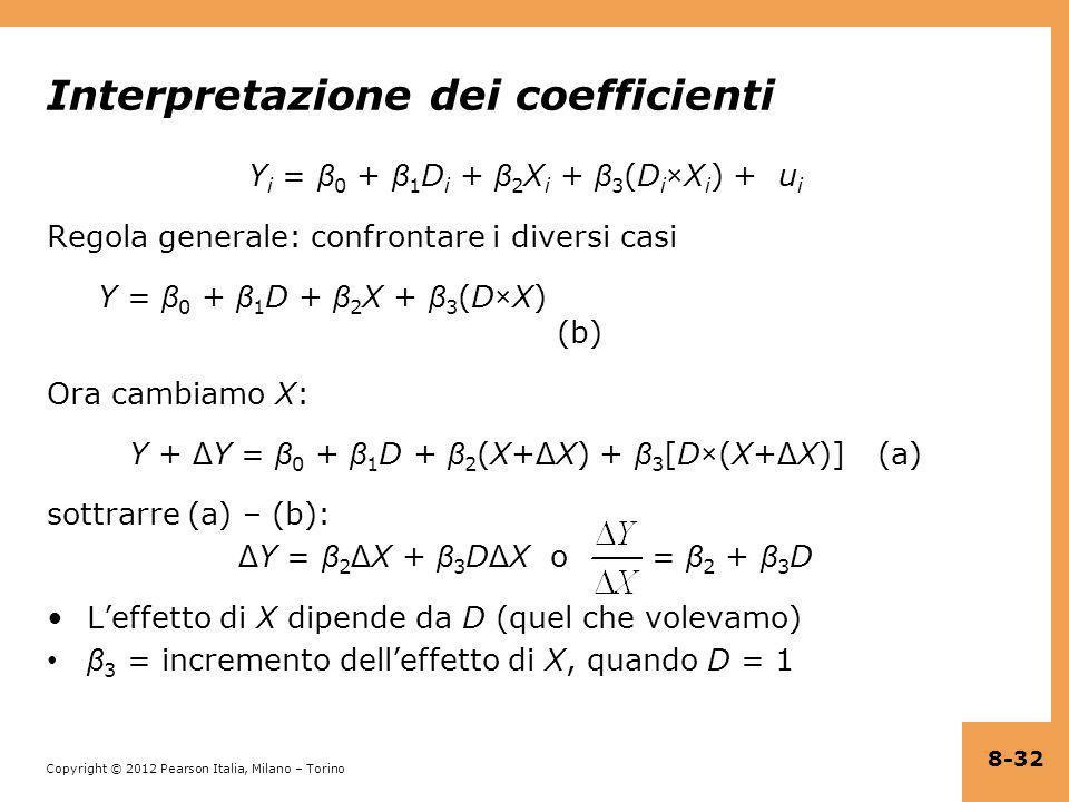Copyright © 2012 Pearson Italia, Milano – Torino Interpretazione dei coefficienti Y i = β 0 + β 1 D i + β 2 X i + β 3 (D i ×X i ) + u i Regola general