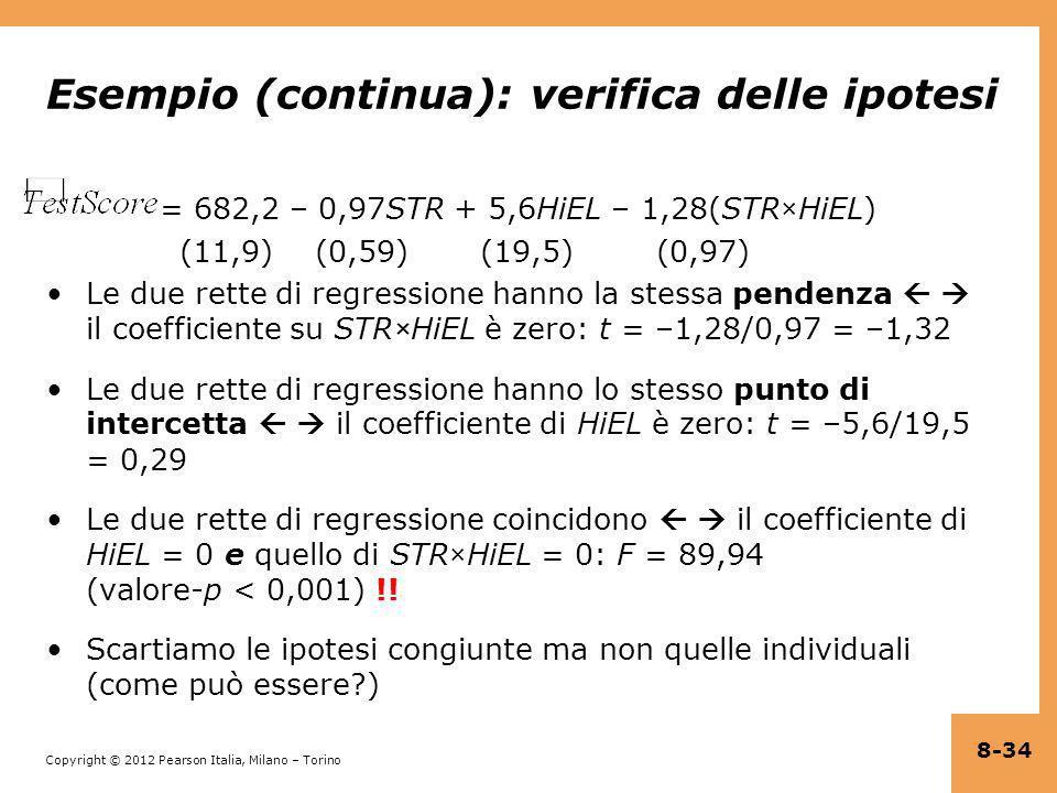 Copyright © 2012 Pearson Italia, Milano – Torino Esempio (continua): verifica delle ipotesi = 682,2 – 0,97STR + 5,6HiEL – 1,28(STR×HiEL) (11,9) (0,59)