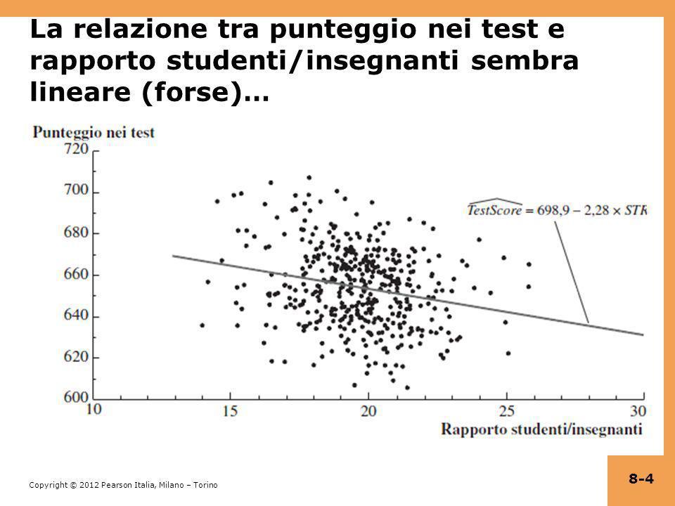 Copyright © 2012 Pearson Italia, Milano – Torino (c) Interazioni tra due variabili continue Y i = β 0 + β 1 X 1i + β 2 X 2i + u i X 1, X 2 sono continue Come specificato, leffetto di X 1 non dipende da X 2 Come specificato, leffetto di X 2 non dipende da X 1 Per far sì che leffetto di X 1 dipenda da X 2, includiamo il termine dinterazione X 1i ×X 2i come regressore: Y i = β 0 + β 1 X 1i + β 2 X 2i + β 3 (X 1i ×X 2i ) + u i 8-35