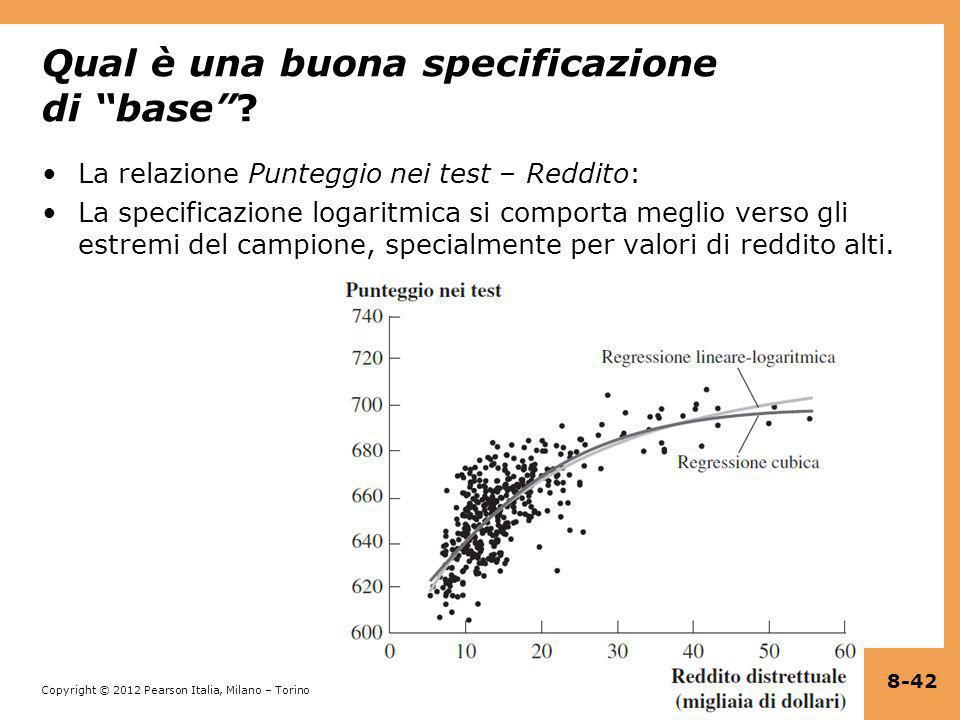 Copyright © 2012 Pearson Italia, Milano – Torino Qual è una buona specificazione di base? La relazione Punteggio nei test – Reddito: La specificazione