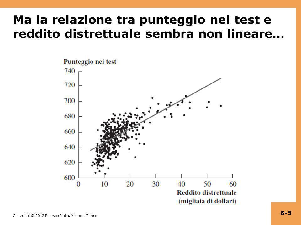 Copyright © 2012 Pearson Italia, Milano – Torino Funzioni di regressione non lineari – concetti generali (Paragrafo 8.1) Se una relazione tra Y e X è non lineare: Leffetto su Y di una variazione in X dipende dal valore di X – ovvero, leffetto marginale di X non è costante Una regressione lineare è mal specificata: la forma funzionale è errata Lo stimatore delleffetto su Y di X è distorto: in generale non è corretto nemmeno sulla media La soluzione consiste nellapplicare una funzione di regressione che sia non lineare in X 8-6