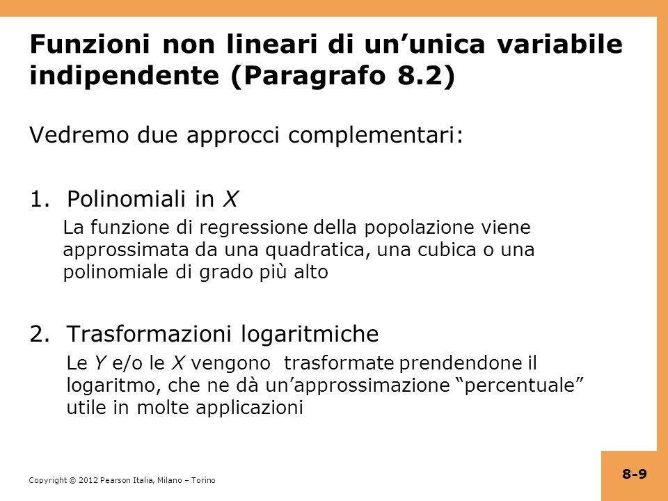 Copyright © 2012 Pearson Italia, Milano – Torino Esempio: ln(TestScore) su ln(Income) Per prima cosa definiamo una nuova variabile dipendente, ln(TestScore) e il nuovo regressore, ln(Income) Il modello ora è una regressione lineare di ln(TestScore) su ln(Income) che può essere stimata mediante OLS: = 6,336 + 0,0554×ln(Income i ) (0,006) (0,0021) A un aumento dell1% in Income si associa un aumento dello 0.0554% in TestScore (Income aumenta di un fattore 1,01, TestScore di un fattore 1,000554) 8-20