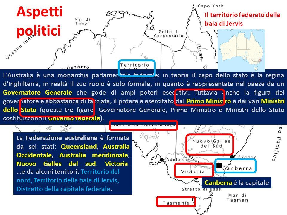Aspetti politici L'Australia è una monarchia parlamentale federale: in teoria il capo dello stato è la regina d'Inghilterra, in realtà il suo ruolo è