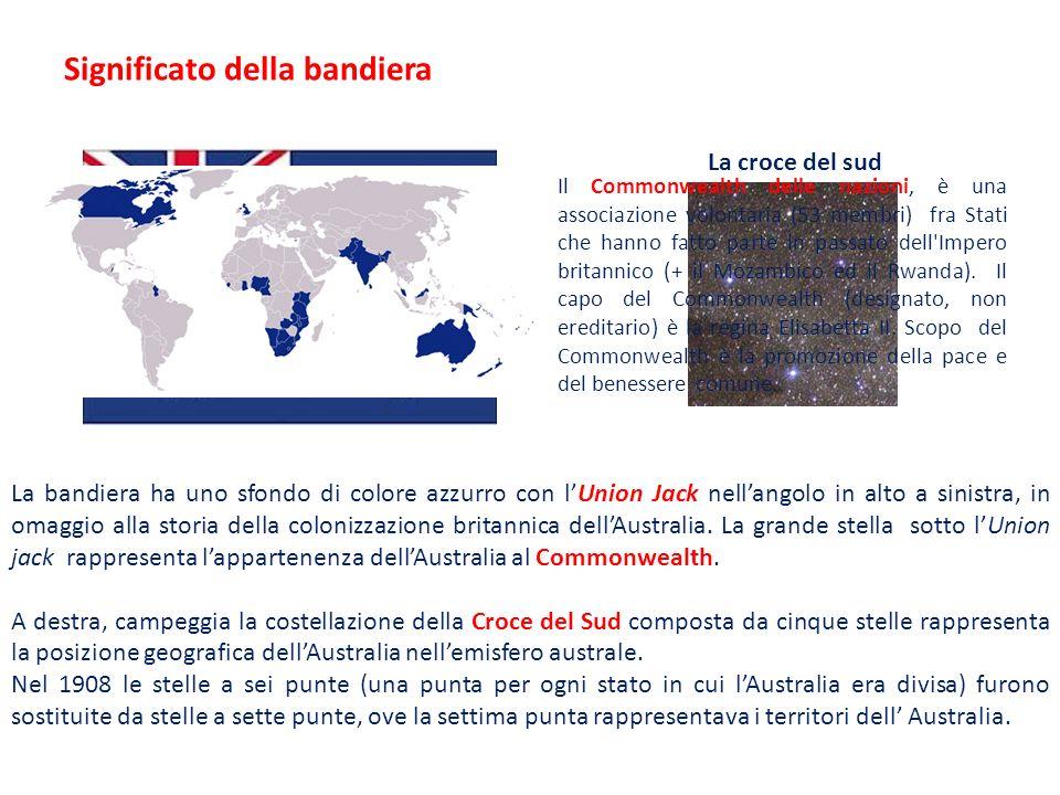 La bandiera ha uno sfondo di colore azzurro con lUnion Jack nellangolo in alto a sinistra, in omaggio alla storia della colonizzazione britannica dell