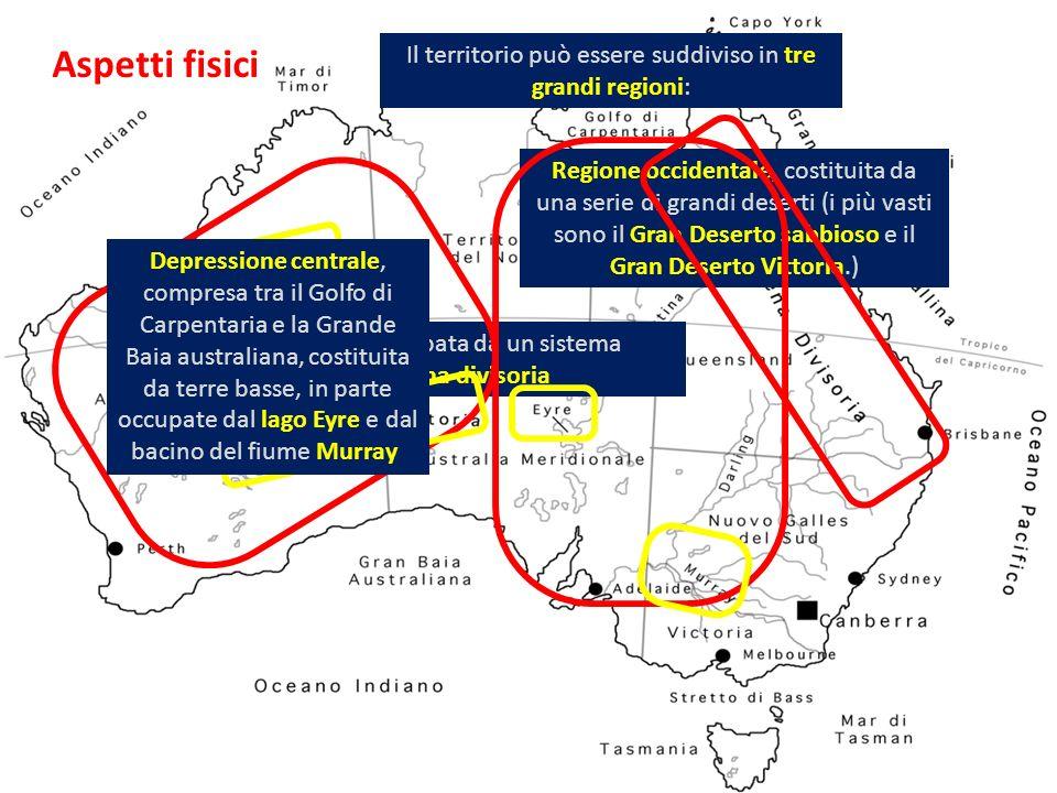 Regione orientale, occupata da un sistema montuoso: la Grande catena divisoria. Aspetti fisici Il territorio può essere suddiviso in tre grandi region