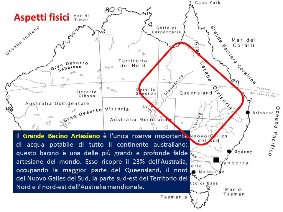 Aspetti fisici Il Grande Bacino Artesiano è l'unica riserva importante di acqua potabile di tutto il continente australiano: questo bacino è una delle