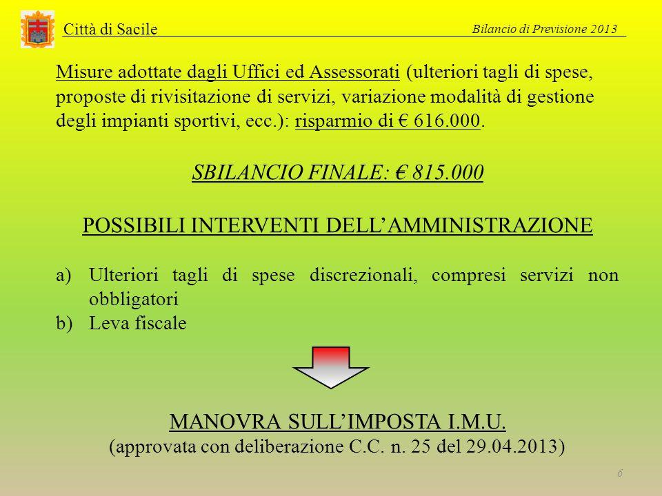 Città di Sacile Bilancio di Previsione 2013 6 Misure adottate dagli Uffici ed Assessorati (ulteriori tagli di spese, proposte di rivisitazione di serv