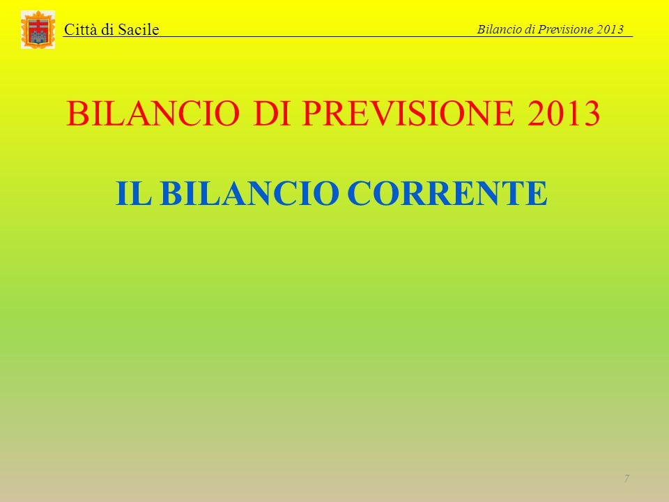 BILANCIO DI PREVISIONE 2013 Città di Sacile IL BILANCIO CORRENTE Bilancio di Previsione 2013 7