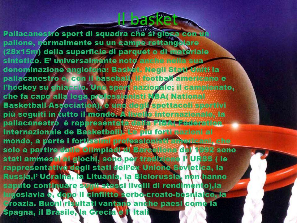 Il basket Pallacanestro sport di squadra che si gioca con un pallone, normalmente su un campo rettangolare (28x15m) della superficie di parquet o di m
