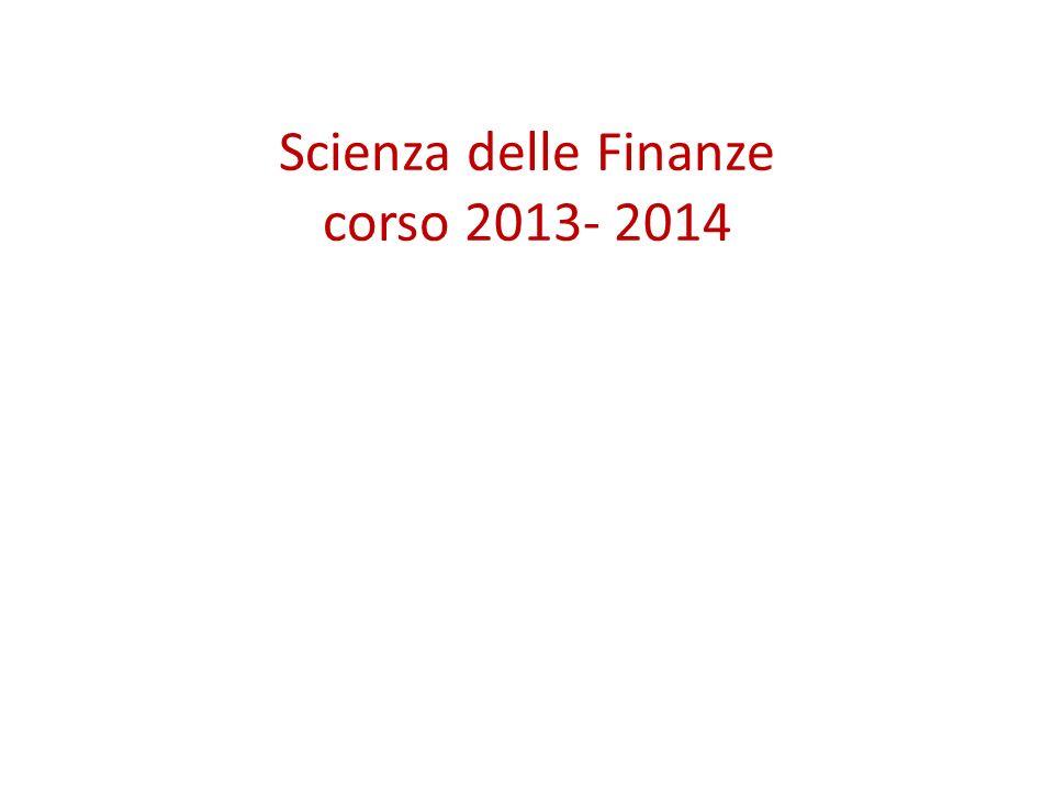 Scienza delle Finanze corso 2013- 2014