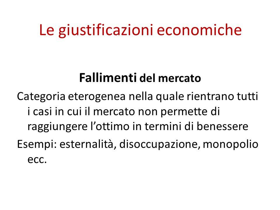 Le giustificazioni economiche Fallimenti del mercato Categoria eterogenea nella quale rientrano tutti i casi in cui il mercato non permette di raggiungere lottimo in termini di benessere Esempi: esternalità, disoccupazione, monopolio ecc.