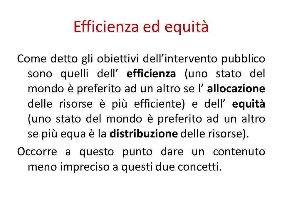Efficienza ed equità Come detto gli obiettivi dellintervento pubblico sono quelli dell efficienza (uno stato del mondo è preferito ad un altro se l allocazione delle risorse è più efficiente) e dell equità (uno stato del mondo è preferito ad un altro se più equa è la distribuzione delle risorse).