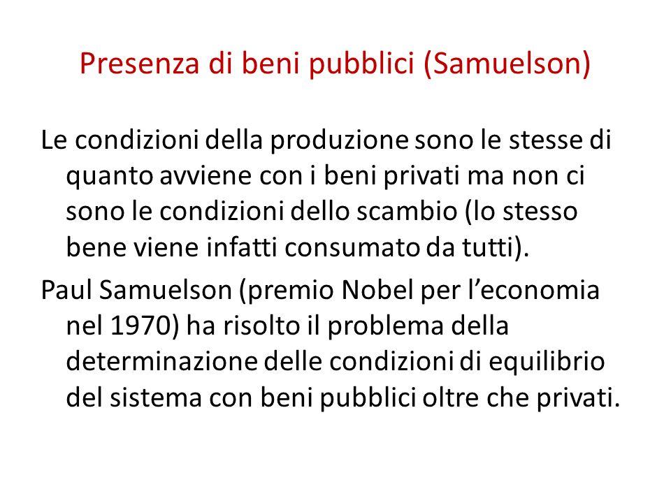 Presenza di beni pubblici (Samuelson) Le condizioni della produzione sono le stesse di quanto avviene con i beni privati ma non ci sono le condizioni dello scambio (lo stesso bene viene infatti consumato da tutti).