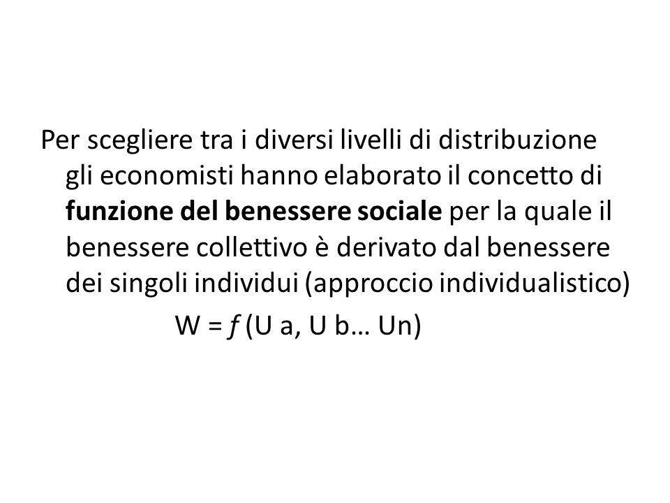 Per scegliere tra i diversi livelli di distribuzione gli economisti hanno elaborato il concetto di funzione del benessere sociale per la quale il benessere collettivo è derivato dal benessere dei singoli individui (approccio individualistico) W = f (U a, U b… Un)