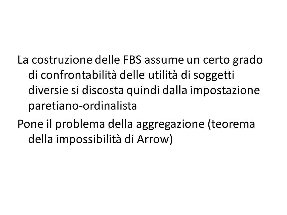 La costruzione delle FBS assume un certo grado di confrontabilità delle utilità di soggetti diversie si discosta quindi dalla impostazione paretiano-ordinalista Pone il problema della aggregazione (teorema della impossibilità di Arrow)