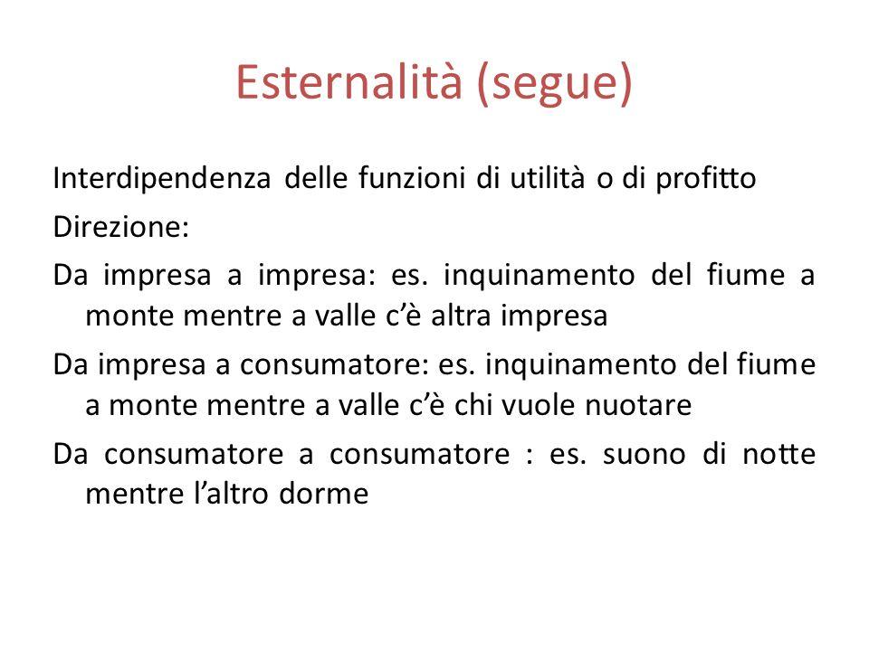 Esternalità (segue) Interdipendenza delle funzioni di utilità o di profitto Direzione: Da impresa a impresa: es.