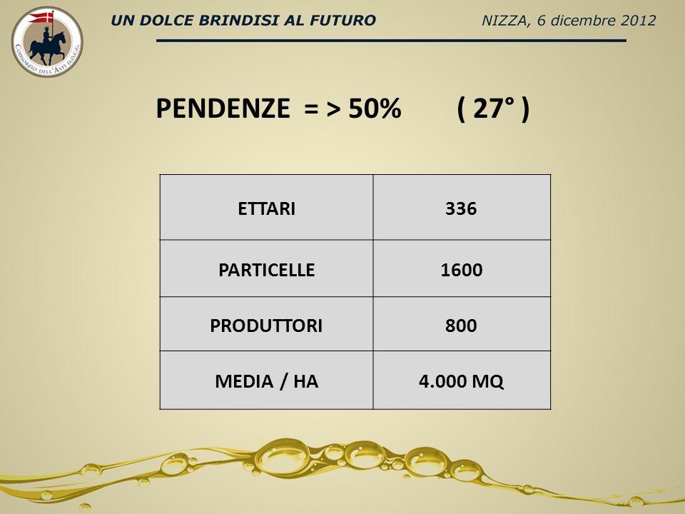 ETTARI336 PARTICELLE1600 PRODUTTORI800 MEDIA / HA4.000 MQ PENDENZE = > 50% ( 27° )