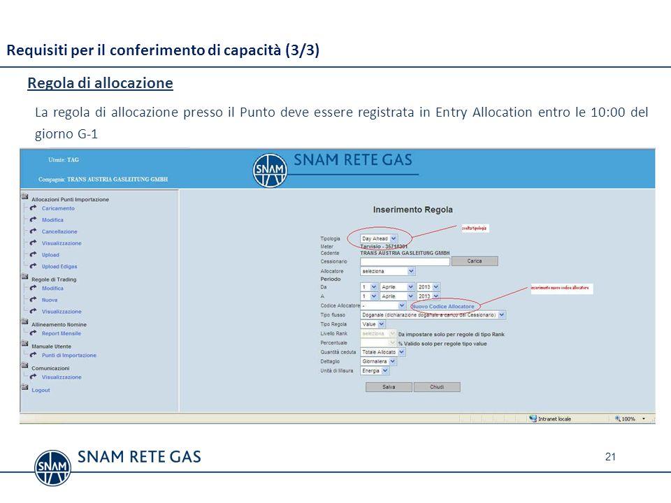 21 Requisiti per il conferimento di capacità (3/3) Regola di allocazione La regola di allocazione presso il Punto deve essere registrata in Entry Allo