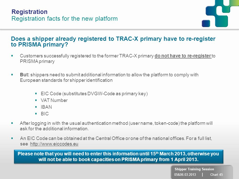 05&06.03.2013 | Chart 45 Shipper Training Session Registration Registration facts for the new platform Does a shipper already registered to TRAC-X pri