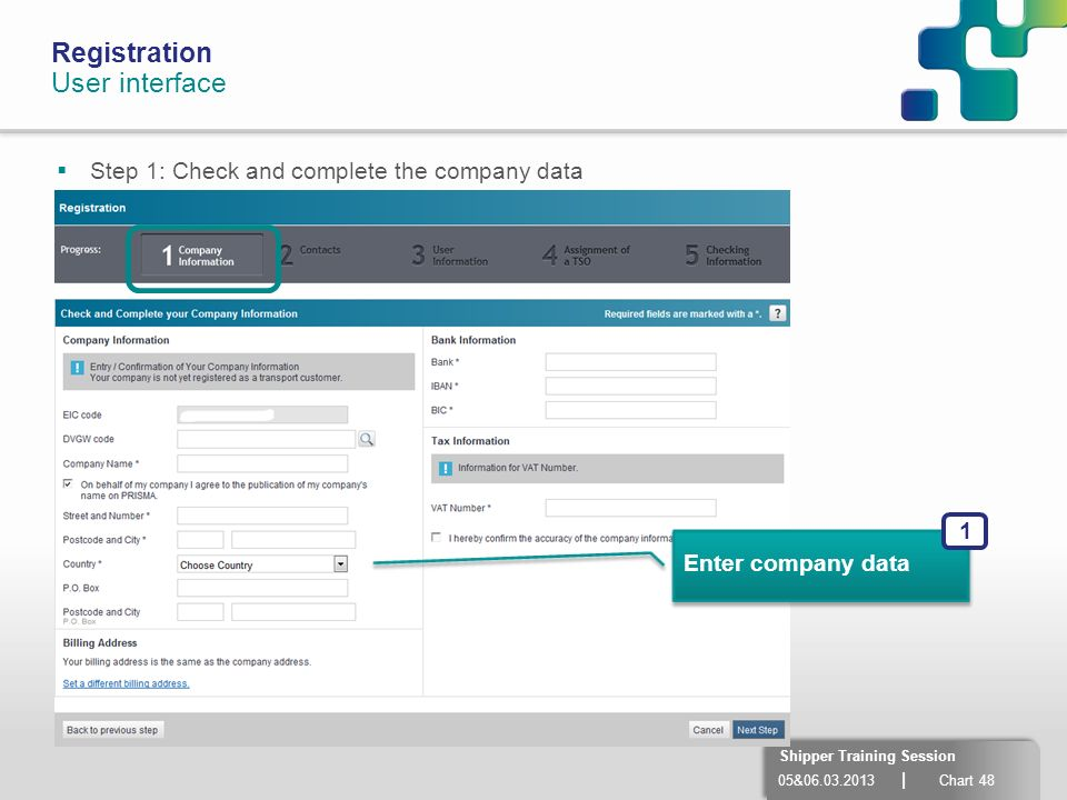 05&06.03.2013 | Chart 48 Shipper Training Session Enter company data 1 Registration User interface Step 1: Check and complete the company data