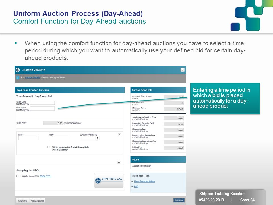 05&06.03.2013 | Chart 84 Shipper Training Session Uniform Auction Process (Day-Ahead) Comfort Function for Day-Ahead auctions When using the comfort f
