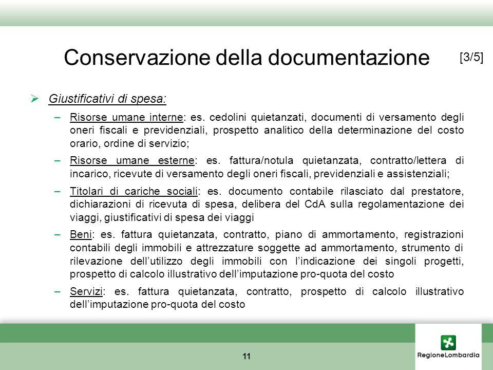 Conservazione della documentazione 11 Giustificativi di spesa: –Risorse umane interne: es. cedolini quietanzati, documenti di versamento degli oneri f