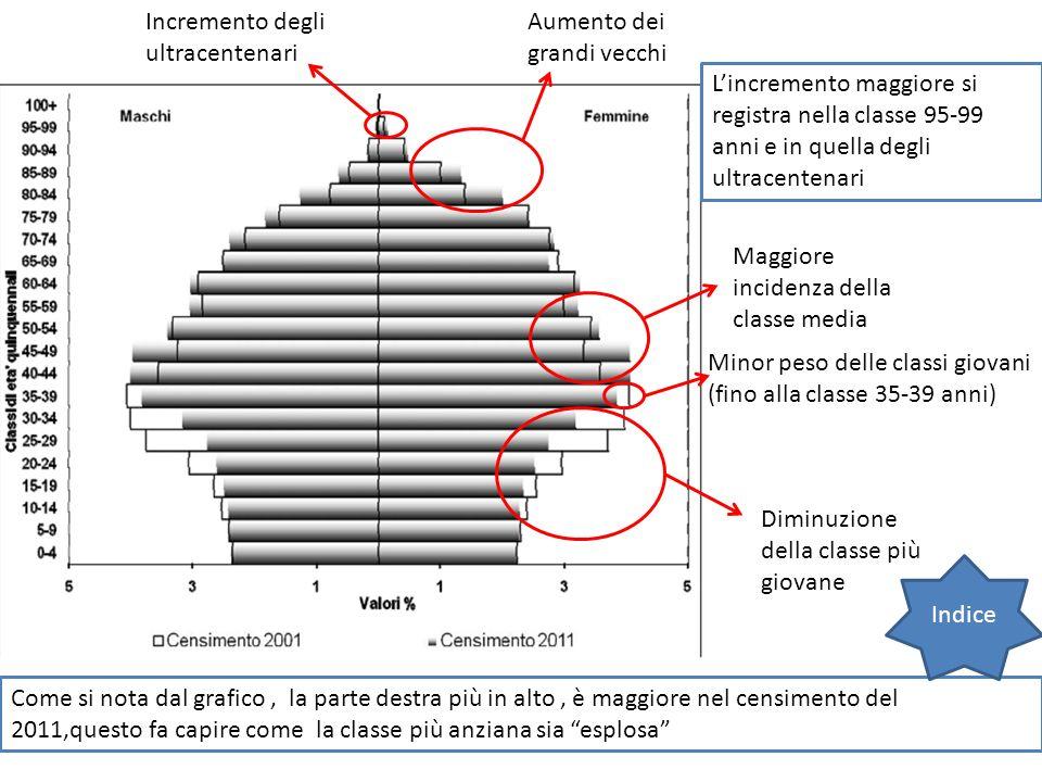 Aumento dei grandi vecchi Maggiore incidenza della classe media Diminuzione della classe più giovane Come si nota dal grafico, la parte destra più in