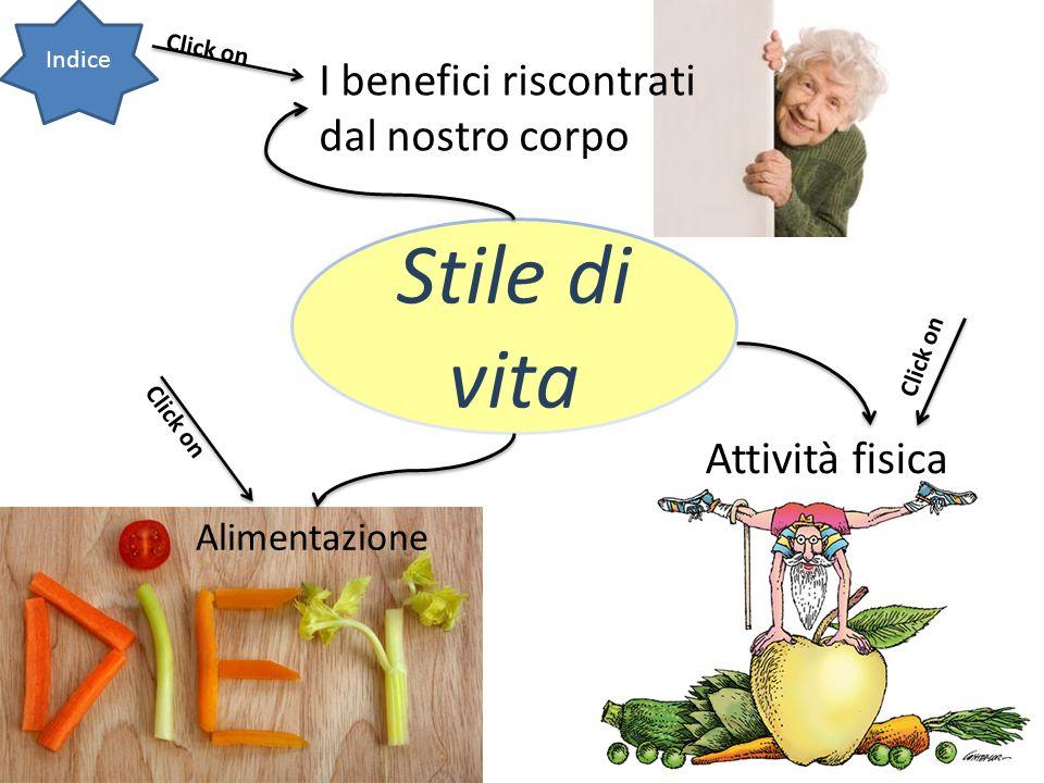 Stile di vita Indice Alimentazione Attività fisica I benefici riscontrati dal nostro corpo Click on