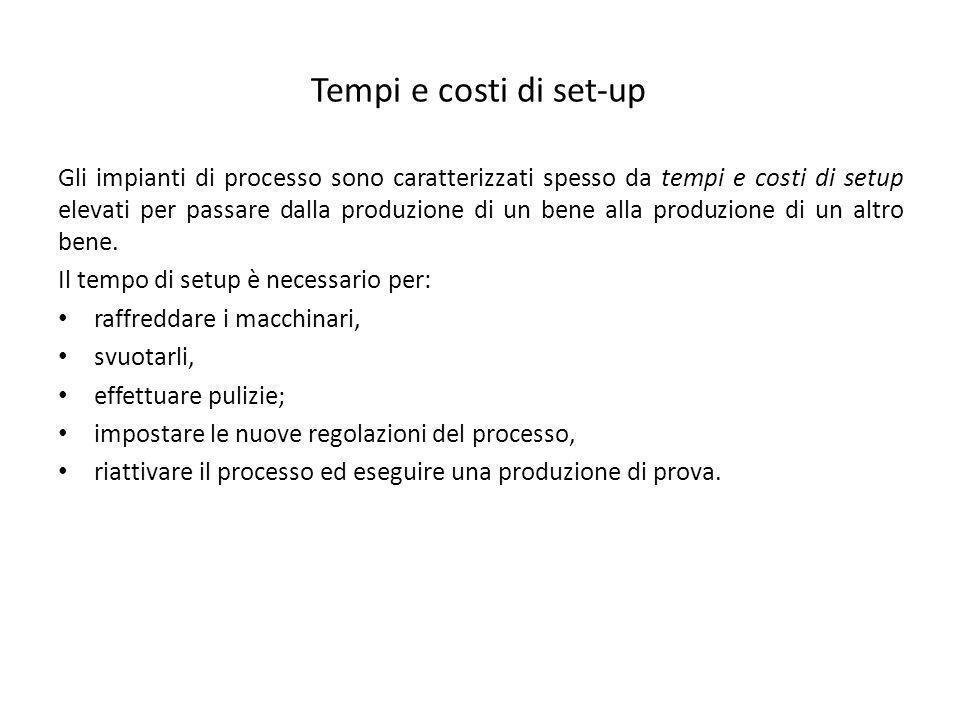Tempi e costi di set-up Gli impianti di processo sono caratterizzati spesso da tempi e costi di setup elevati per passare dalla produzione di un bene