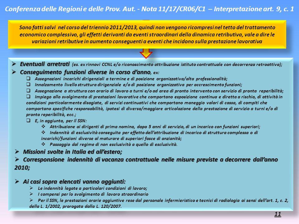 Conferenza delle Regioni e delle Prov. Aut. - Nota 11/17/CR06/C1 – Interpretazione art. 9, c. 1 Eventuali arretrati Eventuali arretrati (es. ex rinnov