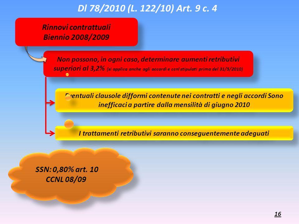 Eventuali clausole difformi contenute nei contratti e negli accordi Sono inefficaci a partire dalla mensilità di giugno 2010 I trattamenti retributivi