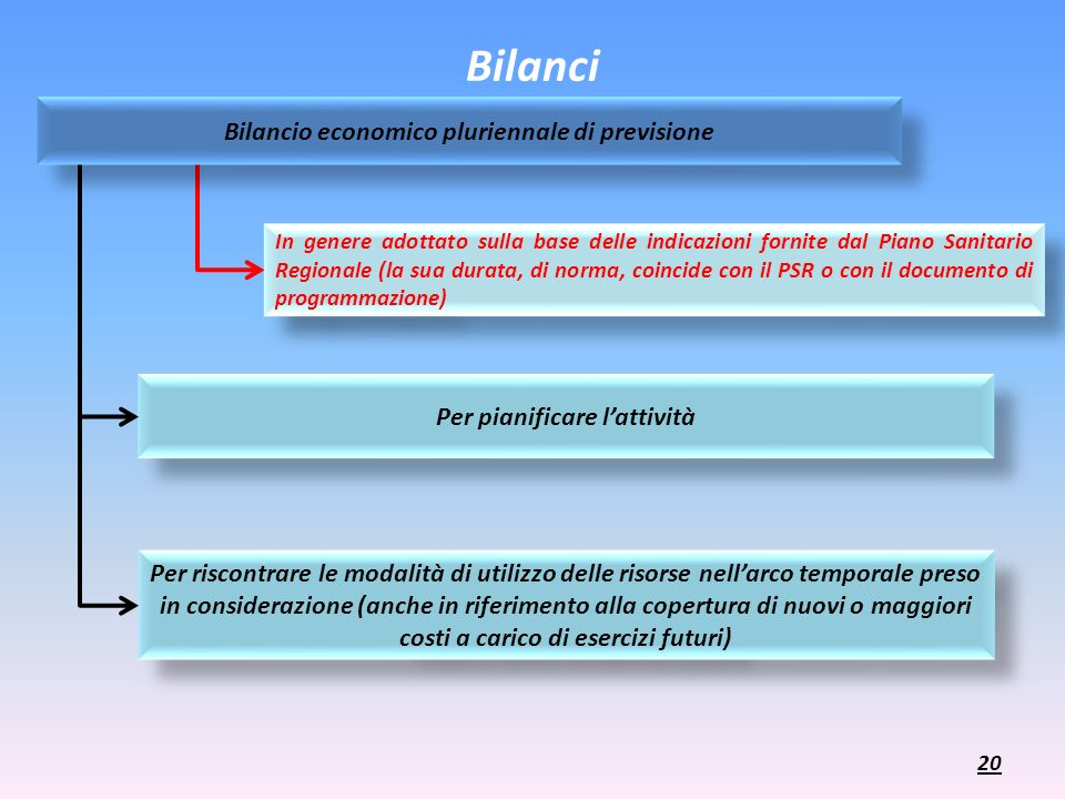 Bilanci In genere adottato sulla base delle indicazioni fornite dal Piano Sanitario Regionale (la sua durata, di norma, coincide con il PSR o con il d