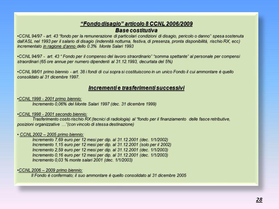 Fondo disagio articolo 8 CCNL 2006/2009 Base costitutiva CCNL 94/97 - art. 43 fondo per la remunerazione di particolari condizioni di disagio, pericol