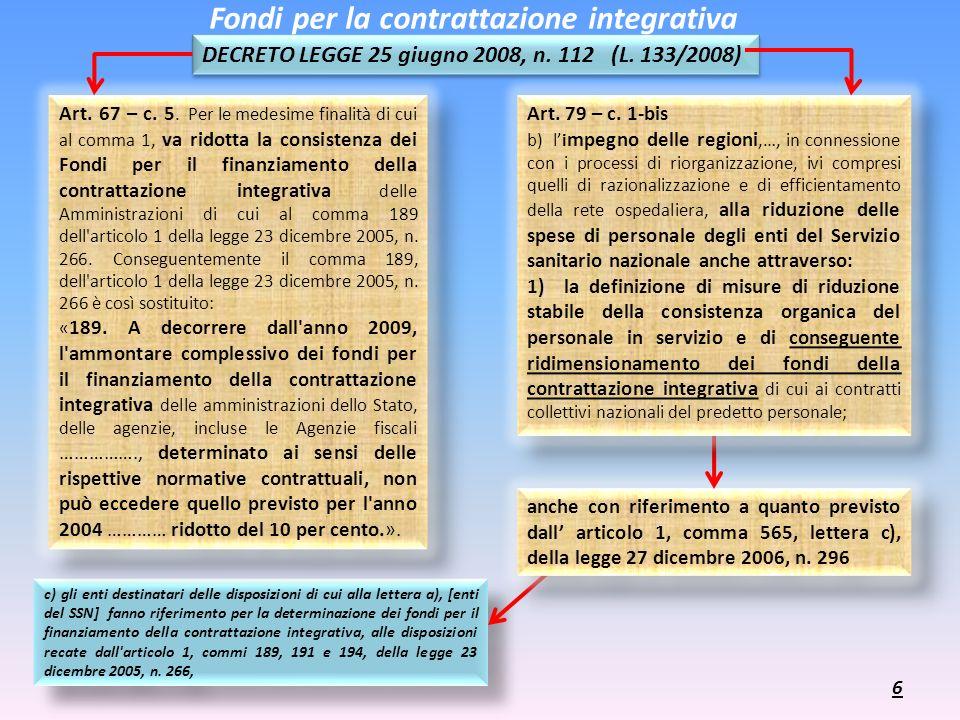 c) gli enti destinatari delle disposizioni di cui alla lettera a), [enti del SSN] fanno riferimento per la determinazione dei fondi per il finanziamen