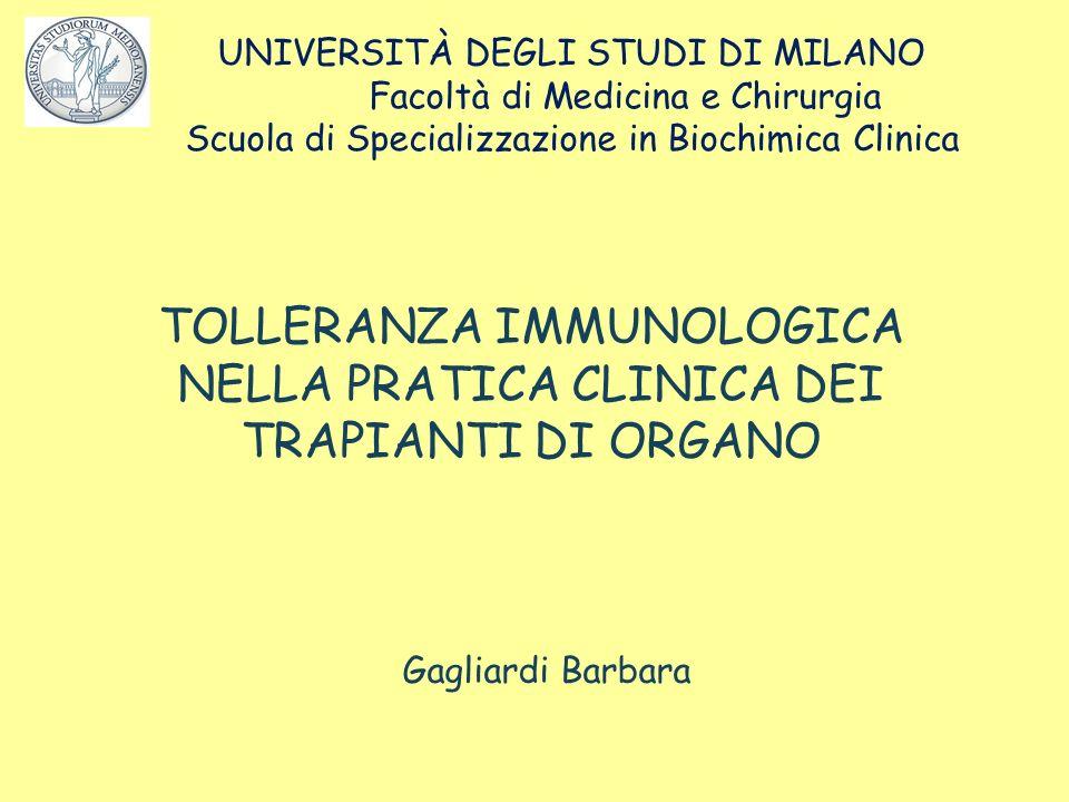 UNIVERSITÀ DEGLI STUDI DI MILANO Facoltà di Medicina e Chirurgia Scuola di Specializzazione in Biochimica Clinica Gagliardi Barbara TOLLERANZA IMMUNOL
