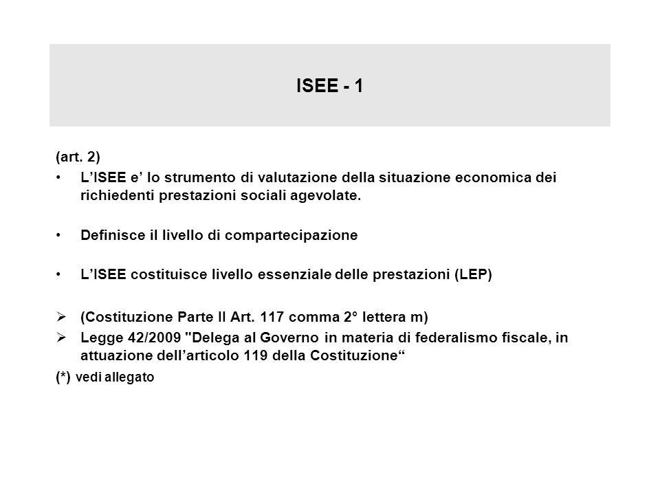 ISEE - 1 (art. 2) LISEE e lo strumento di valutazione della situazione economica dei richiedenti prestazioni sociali agevolate. Definisce il livello d